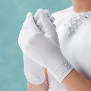 Emmerling White Beaded Communion Gloves - Style 74005
