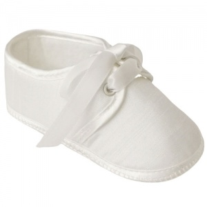 Baby Boys Ivory Dupion Lace Up Pram Shoes