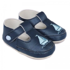 Baby Boys Navy T-Bar Boat Pram Shoes