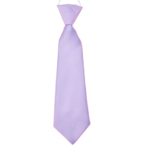 Boys Lilac Plain Satin Tie on Elastic