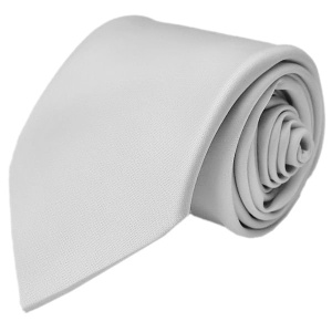 Boys Silver / Grey Plain Satin Tie (45'')