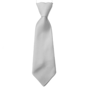 Boys Silver / Grey Plain Satin Tie on Elastic