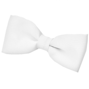 Boys White Satin Plain Dickie Bow Tie on Elastic