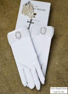 Girls Diamante Bow Communion Gloves - Abigail P115 by Peridot
