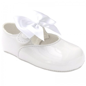Baby Girls White Large Satin Bow Patent Pram Shoes