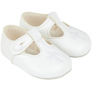 Baby White Matt T-bar Cross Shoes 'Baypods'