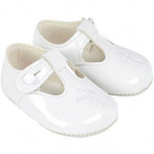 Baby White Patent T-bar Cross Shoes 'Baypods'