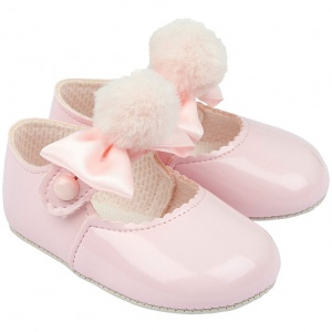 Baby Girls Pink Pom Pom Bow Patent Pram Shoes