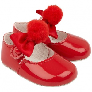 Baby Girls Red Pom Pom Bow Patent Pram Shoes