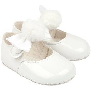 Baby Girls White Pom Pom Bow Patent Pram Shoes