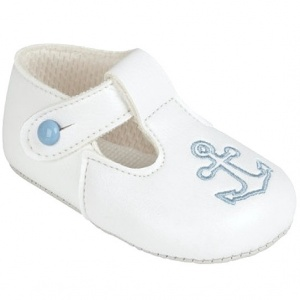 Baby Boys White & Sky Blue Anchor T-Bar Shoes