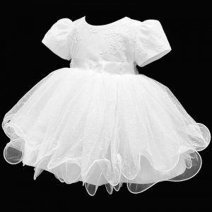 Baby Girls White Embroidered Tulle Dress