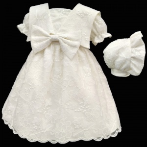 Baby Girls Ivory Embroidered Lace Bow Dress & Bonnet