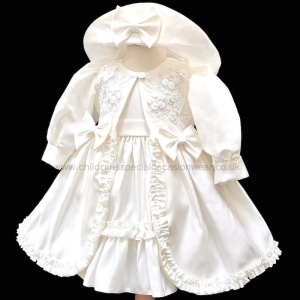 Baby Girls Ivory Frilly Bow Dress, Coat & Hat