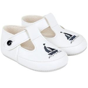 Baby Boys White & Navy T-Bar Boat Pram Shoes Baypods ...