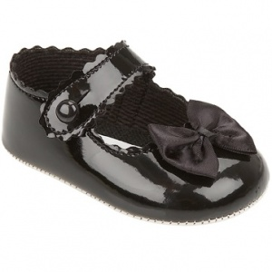 Baby Girls Black Button Bow Patent Pram Shoes