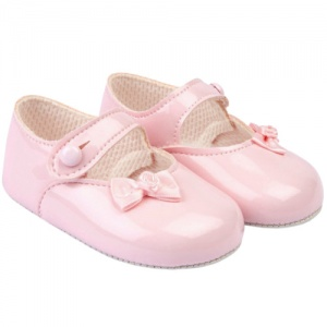 Baby Girls Pink Side Bow Patent Pram Shoes