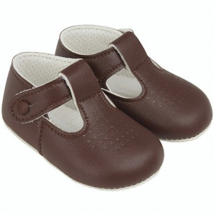 Baby Boys Brown Matt T-bar Pram Shoes 'Baypods'