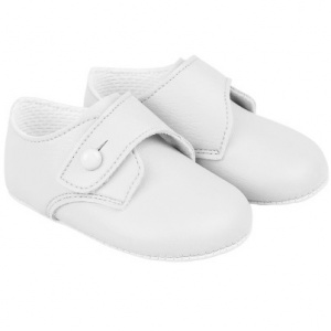 Baby Boys White Matt Button Pram Shoes 'Baypods'