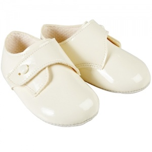 Baby Boys Ivory Patent Button Pram Shoes 'Baypods'