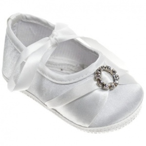 Baby Girls White Diamante & Ribbon Satin Pram Shoes