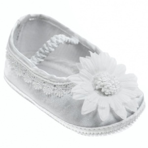 Baby Girls White Flower & Lace Trim Satin Shoes