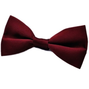 Boys Burgundy Satin Plain Dickie Bow Tie on Elastic