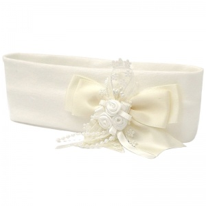 Baby Girls Ivory Bow Daisy Trim Cotton Headband