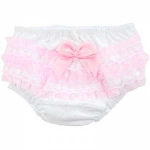 Baby Girls White & Pink Bow Lace Cotton Knickers