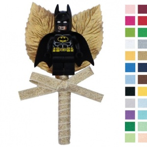 Boys Sparkly Gold Buttonhole with Batman Figure