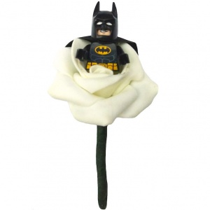 Boys Batman with Cape Ivory Rose Buttonhole