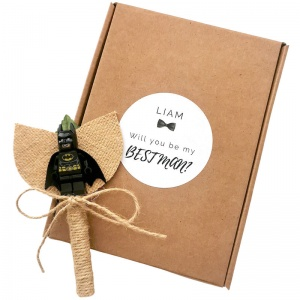 Best Man Superhero Rustic Buttonhole with Personalised Gift Box