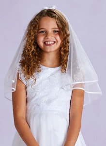 Girls White Two Tier Double Bow Veil - Betty P200 by Peridot