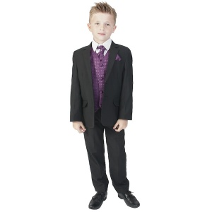 Boys Black & Purple 6 Piece Slim Fit Suit