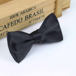 Boys Black Satin Bow Tie with Adjustable Strap