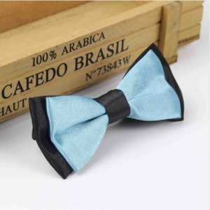 Boys Black & Sky Blue Satin Bow Tie with Adjustable Strap