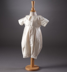 Baby Boys Ivory Christening Romper - Bobbie by Millie Grace