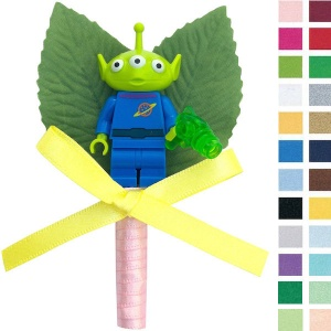 Boys Toy Story Alien Buttonhole with Satin Bow & Stem