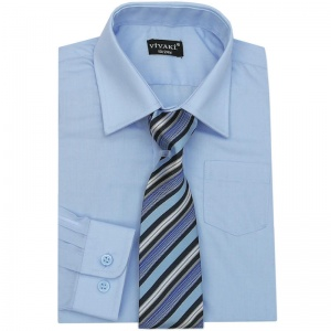 Boys Blue Formal Shirt & Tie Box Set