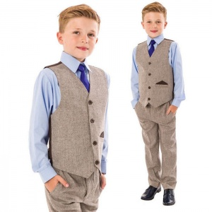 Boys Brown Tweed Herringbone 4 Piece Waistcoat Suit