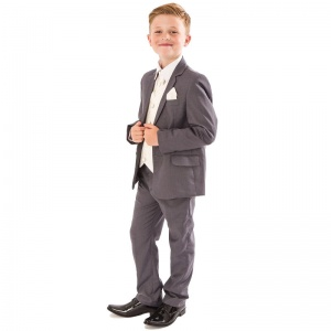 Boys Grey & Ivory Deluxe Swirl 6 Piece Slim Fit Suit