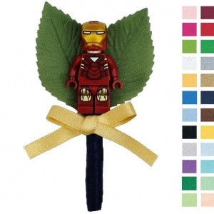 Boys Gold & Navy Buttonhole with Iron Man Figure