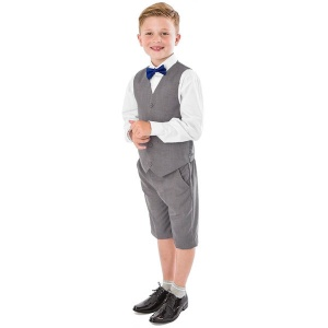Boys Light Grey 4 Piece Bow Tie Suit with Shorts