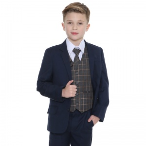Boys Navy & Orange Check 5 Piece Slim Fit Suit
