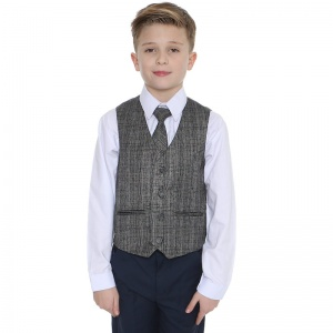 Boys Navy & Tartan Tweed Orange Check 4 Piece Suit