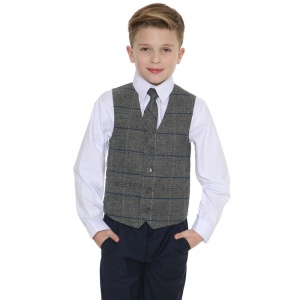 Boys Navy & Grey Tweed Check 4 Piece Waistcoat Suit