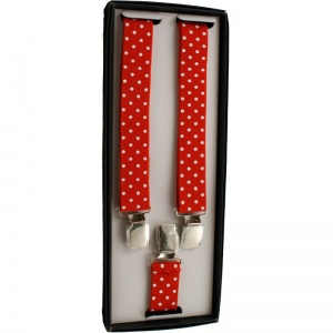 Boys Red & White Polka Dot Adjustable Braces + Gift Box