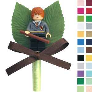 Boys Ron Weasley Buttonhole with Satin Bow & Stem
