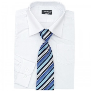 Boys White Formal Shirt & Tie Box Set