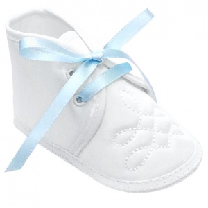 Baby Boys White Satin Sky Blue Ribbon Shoes